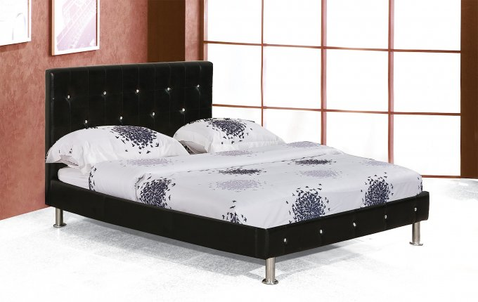 I c beds diamond headboard bed frame in king faux for Diamond bed frame