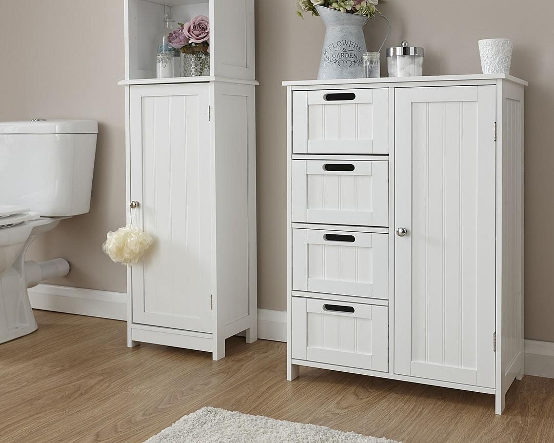 COLONIAL RANGE BATHROOM 4 DRAWER SLIM CHEST CABINET CUPBOARD STORAGE UNIT WHITE