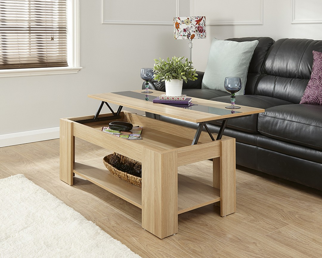 Lift up coffee table gloss strip for Coffee tables that lift up