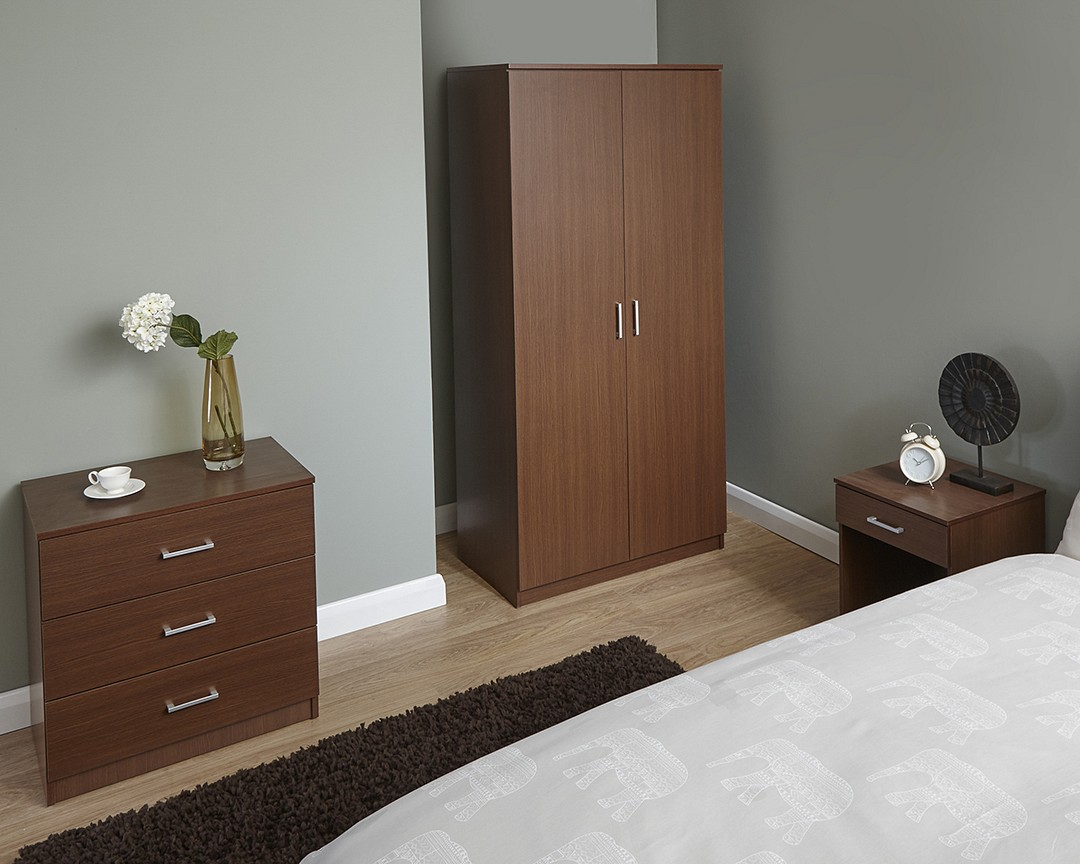 Cheap New Luna 3 Piece Trio Bedroom Set Wardrobe Chest Drawers And Bedside Table Ebay