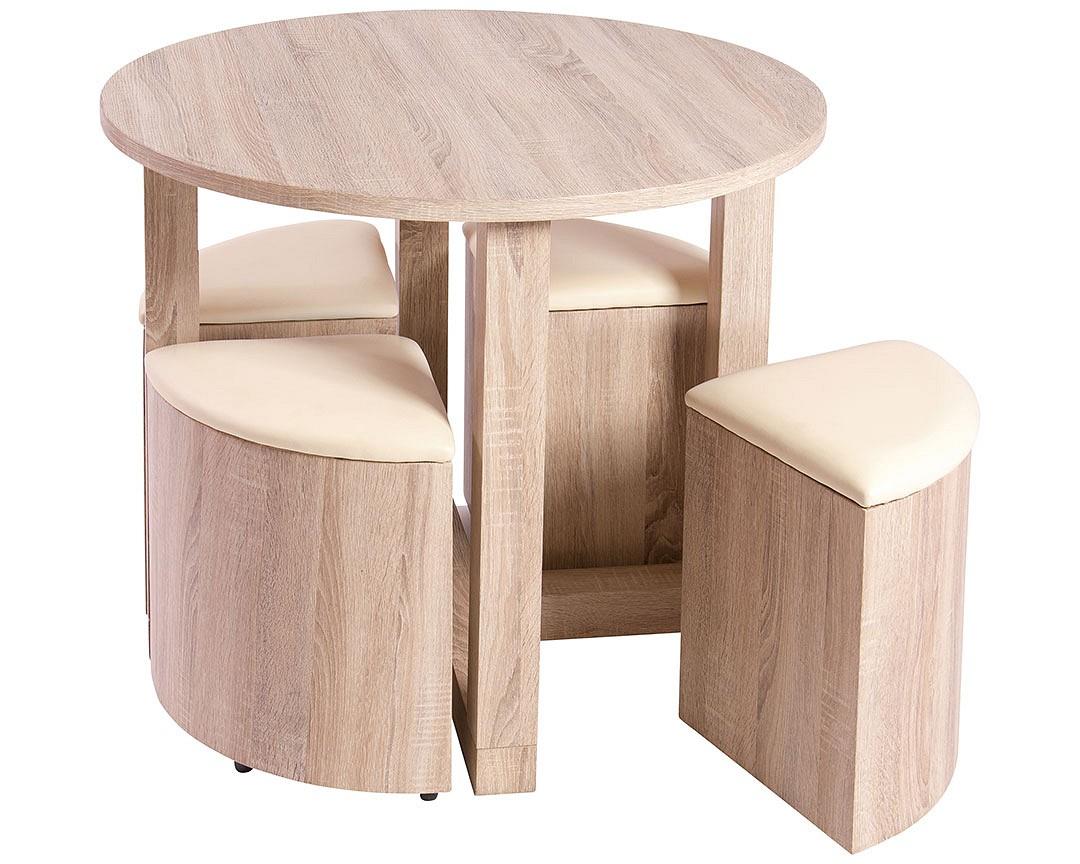 Hideaway Mini Dining Table 4 Mini Leather Stools Brown Or Cream Mod